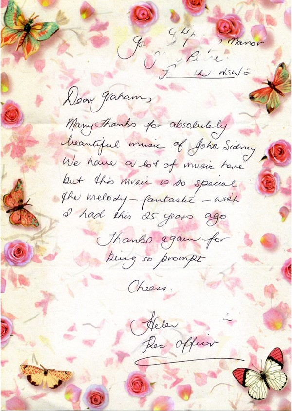 Letter from Helen, a recreation officer in a nursing home in Penrith, NSW, Australia.