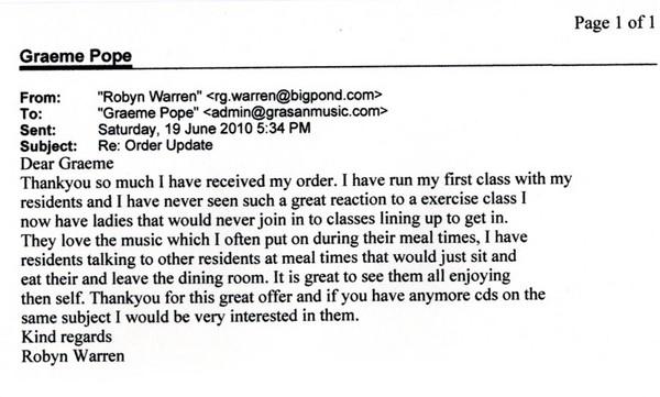 Email from Robyn Warren in Melbourne, Victoria, Australia.