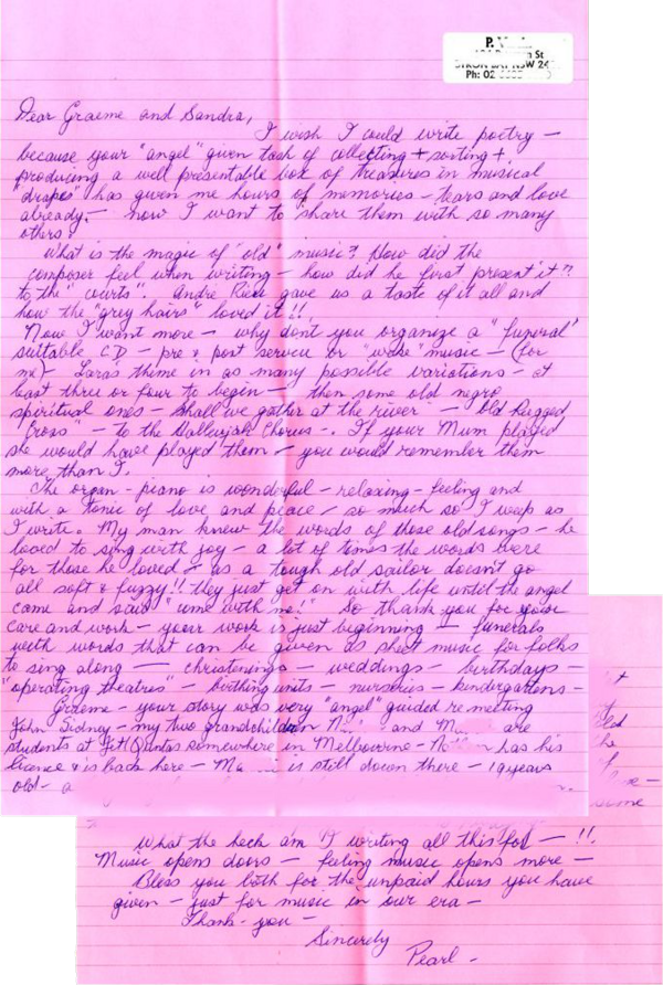 Letter from Pearl in Byron Bay, NSW