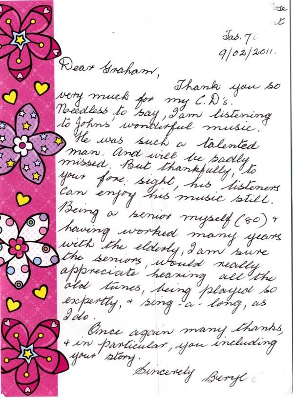 Letter from Beryl in Hobart, Tasmania, Australia.