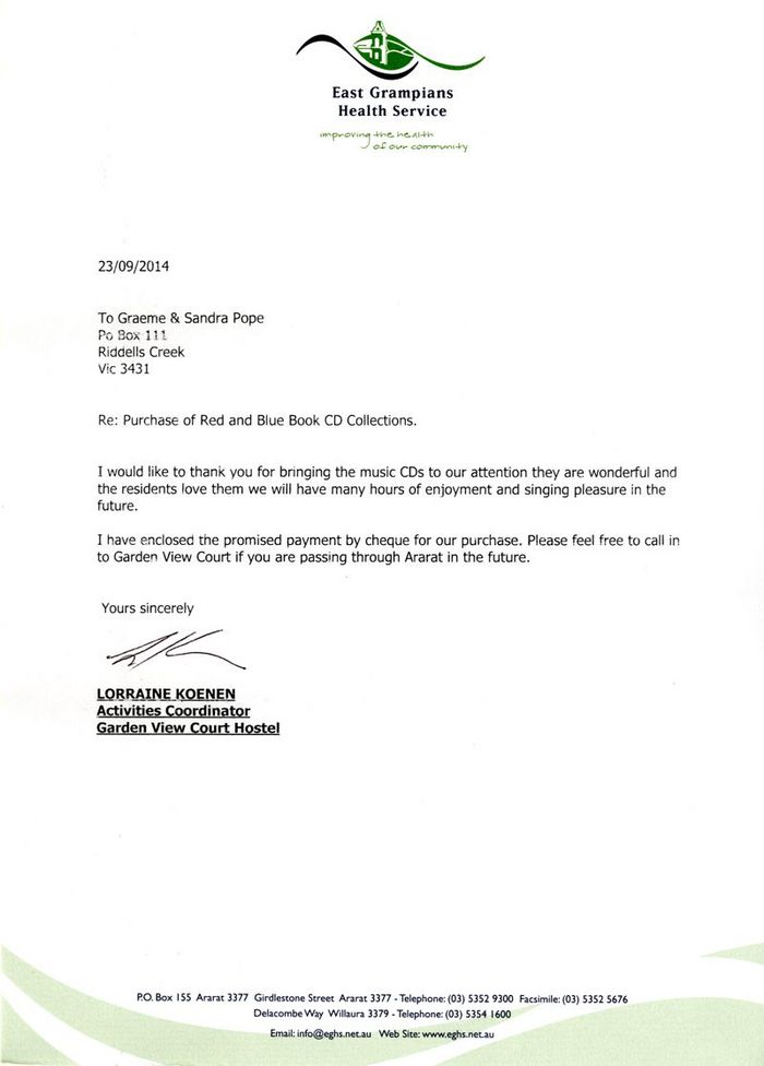Letter from Lorraine in Ararat, Victoria, Australia