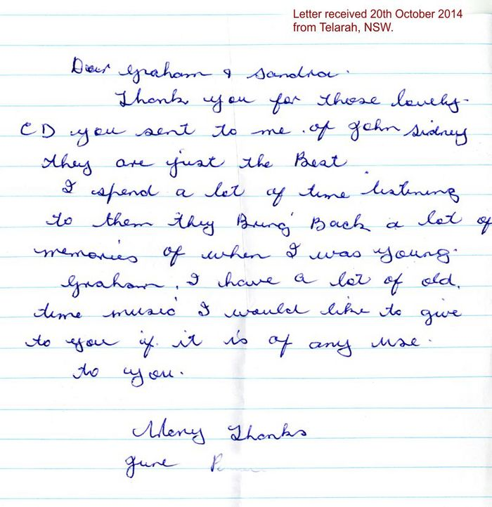 Letter received from June in Telarah, NSW, Australia